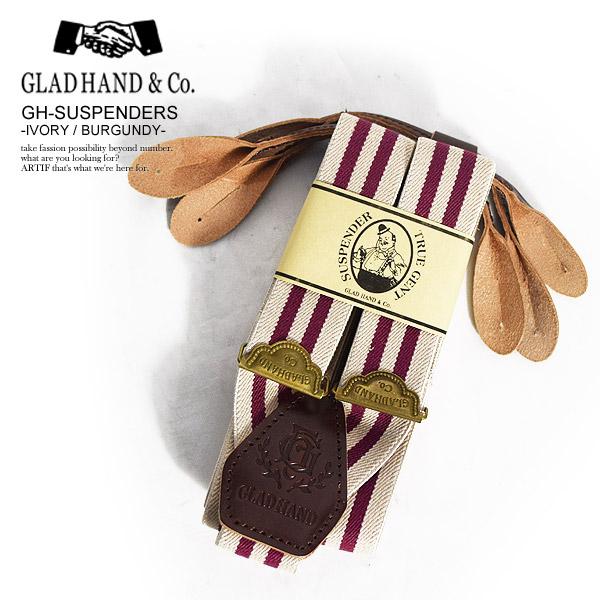 GLAD HAND グラッドハンド GH-SUSPENDERS -IVORY/BURGUNDY- メンズ サスペンダー アクセサリー 送料無料 おしゃれ かっこいい カジュアル ファッション ストリート gladhand