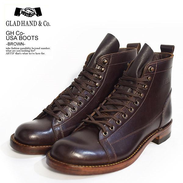 GLAD HAND グラッドハンド ×All American Boots Mfg., Inc. GH Co.-USA BOOTS -BROWN- メンズ ブーツ モンキーブーツ USA製 コラボ レザー 送料無料 おしゃれ かっこいい ファッション ストリート gladhand