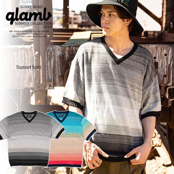 2019 夏 先行予約 6月上~中旬入荷予定 glamb グラム Sunset knit メンズ ニット 送料無料 キャンセル不可