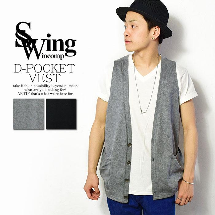 50%OFF!SALE セール SWING スウィング D-POCKET VEST メンズ ベスト 天竺 tシャツ レイヤード 送料無料 swing