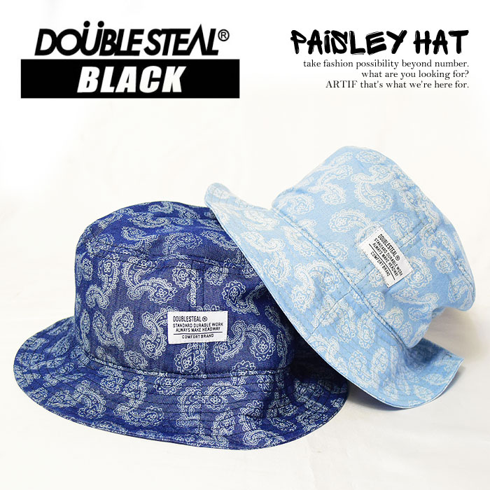 DOUBLE STEAL BLACK double steel black Paisley HAT mens Cap Hat bucket Hat  Paisley pattern pattern fashionable whats up street doublesteal a7115b6640b