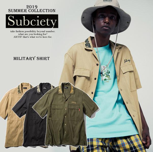 2019 夏 先行予約 6月~7月入荷予定 SUBCIETY サブサエティ MILITARY SHIRT subciety メンズ シャツ 送料無料 キャンセル不可