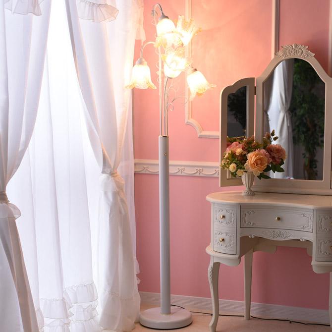 おしゃれ スタンドランプ ホワイト アンティーク調 調光式 花 ベネチアンスタイル ロココ調 フロアスタンドライト スタンドライト フロアランプ ヨーロピアン フロアライト フロアーランプ エレガント 5灯