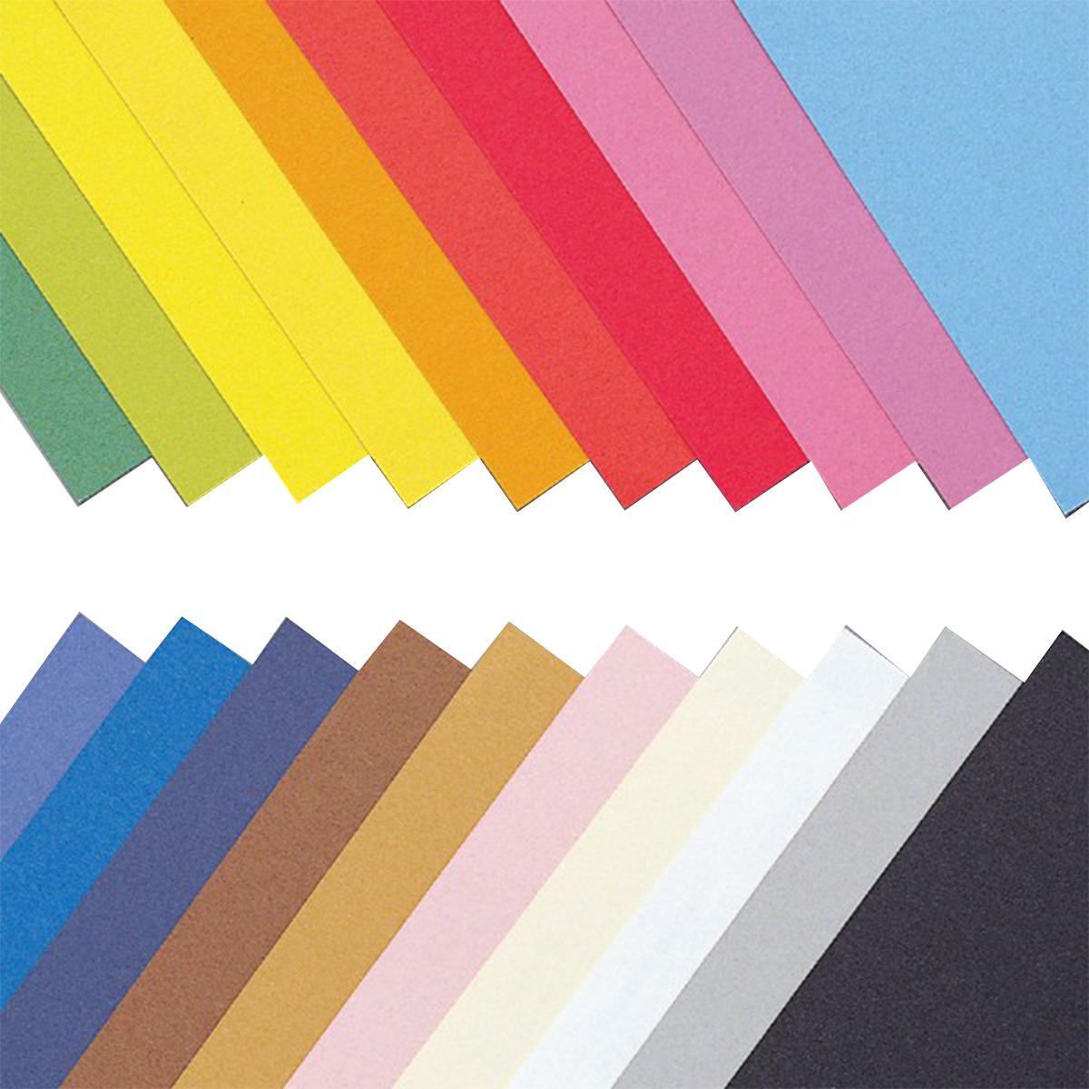 ラシャ紙 厚口 四つ切 20色 100枚組 【 紙 色紙 造形 フェルト 製作 】