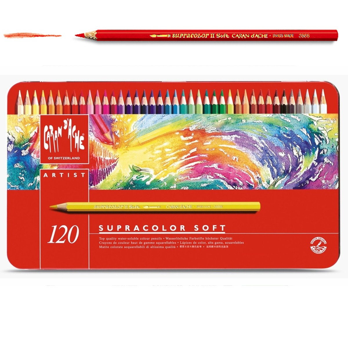 カランダッシュ アーチスト用 スプラカラーソフト 水彩色鉛筆 120色セット 缶入 【 デッサン スケッチ 絵画 水溶性 水彩 色鉛筆 色えんぴつ 】