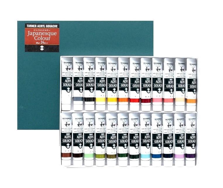 [ ゆうパケット可 ] ターナー AG ジャパネスクカラー 24色Aセット 20ml 【 絵画 絵具 水彩 えのぐ アクリルガッシュ 】