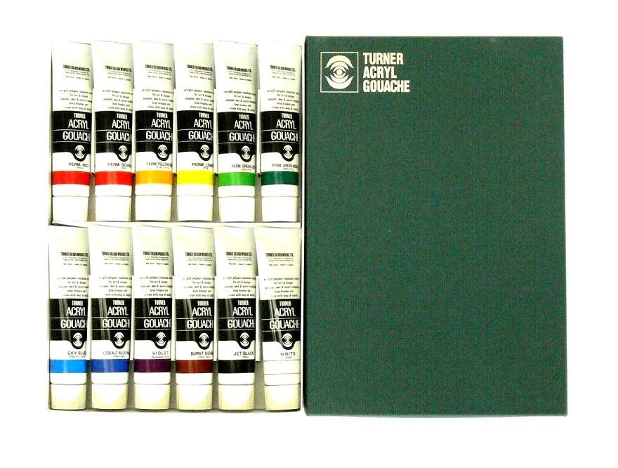 ターナー アクリルガッシュ 12色セット 40ml 【 絵画 絵具 水彩 えのぐ アクリルガッシュ 】