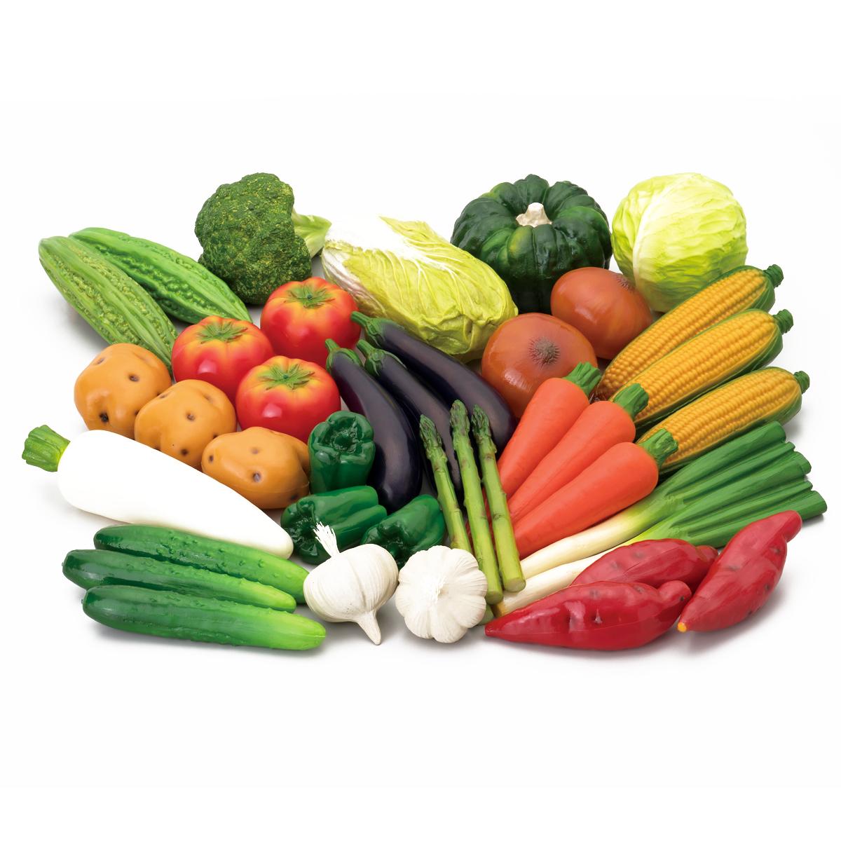 <お取り寄せ品>野菜模型 18種40点セット 塩ビ製 【 作り物 写生 ディスプレイ用 】