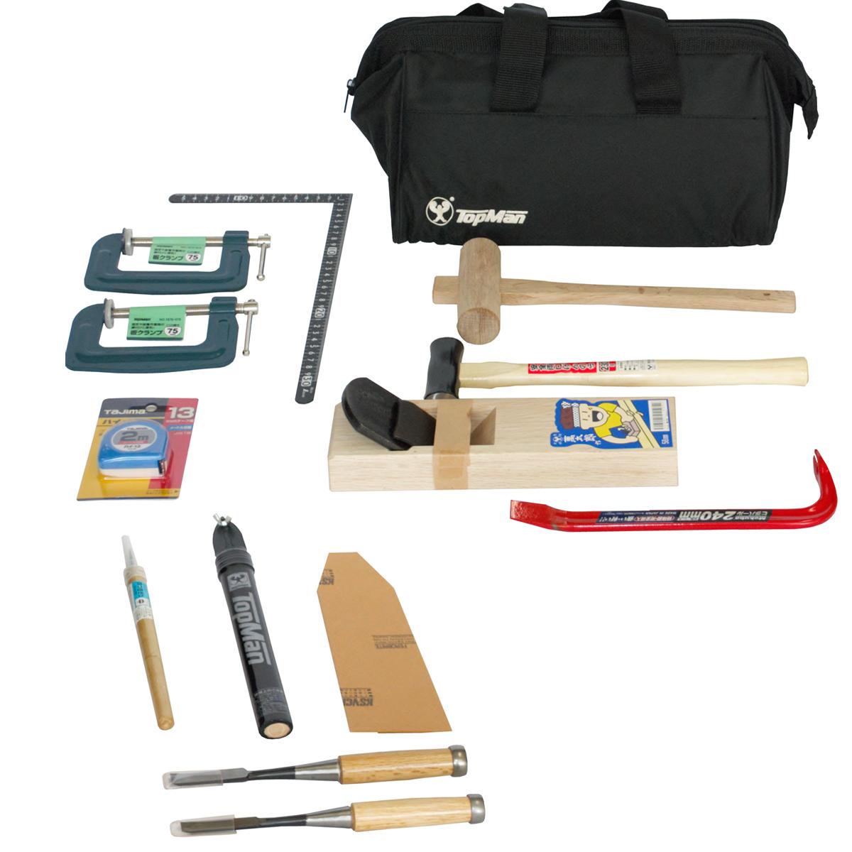 木工具セット S型 13点揃 【 木工 木彫 工作 木工具 セット 】