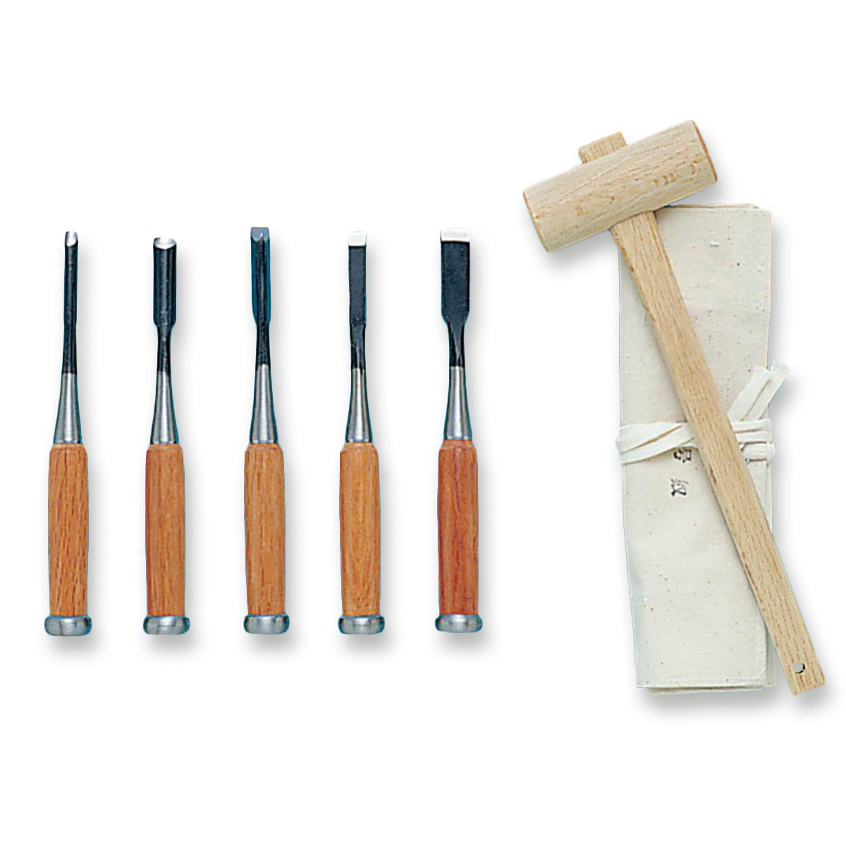 木彫用具一式 5丁組 【 木工 木彫 木工具 のみ 木づち セット 】