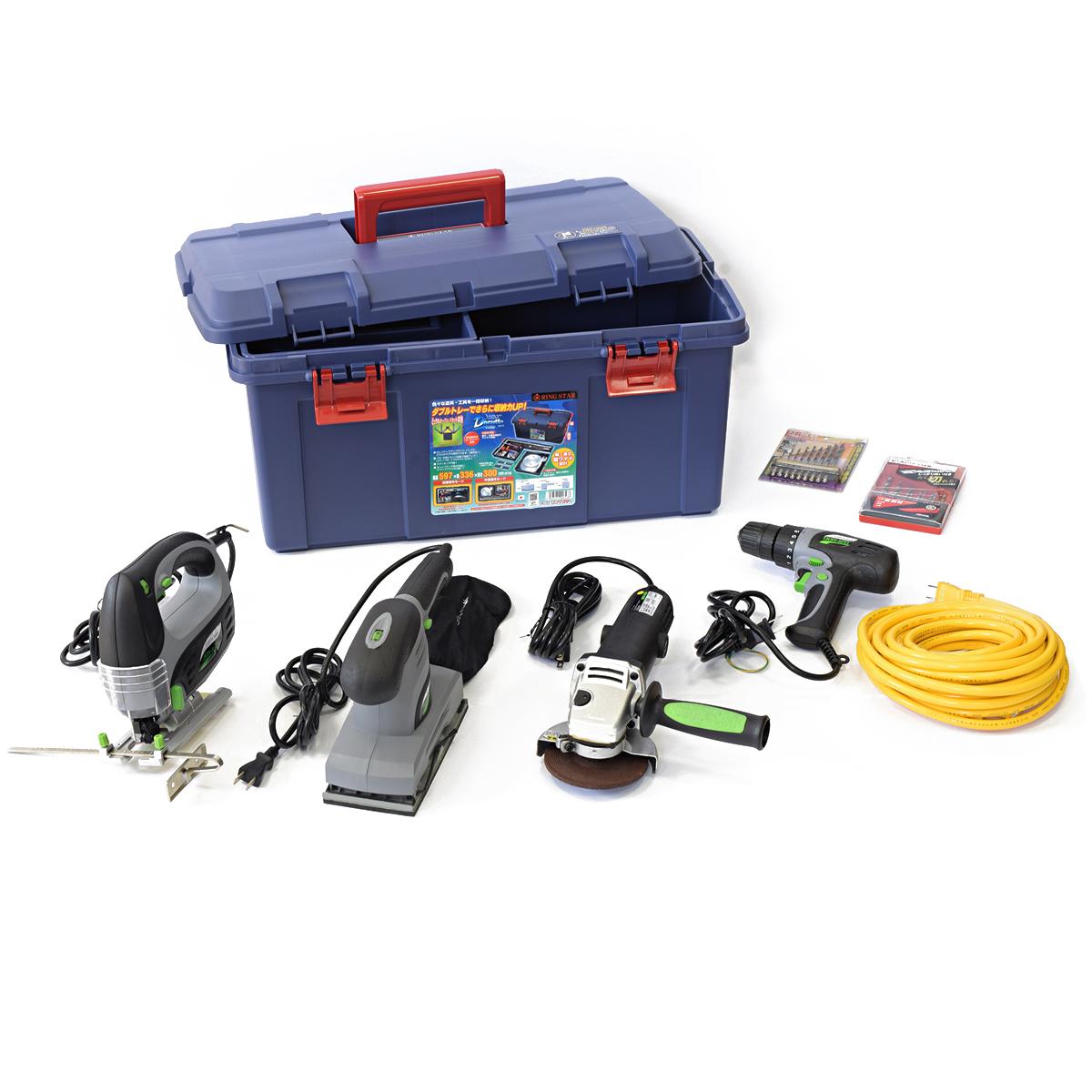 電動工具5機種セット BT-AC5 【 DIY 電動 加工 ルーター ドリル ジグソー グラインダー サンダー 】