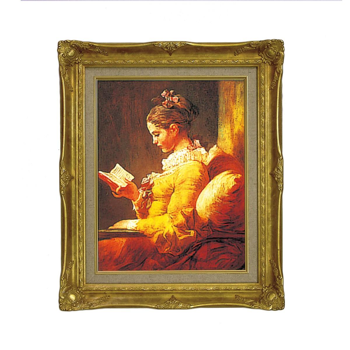 <お取り寄せ品> 複製絵画 読書する少女 フラゴナール作 F6 【 鑑賞 レプリカ 名画 西洋美術 フランス ロココ 肖像画 】