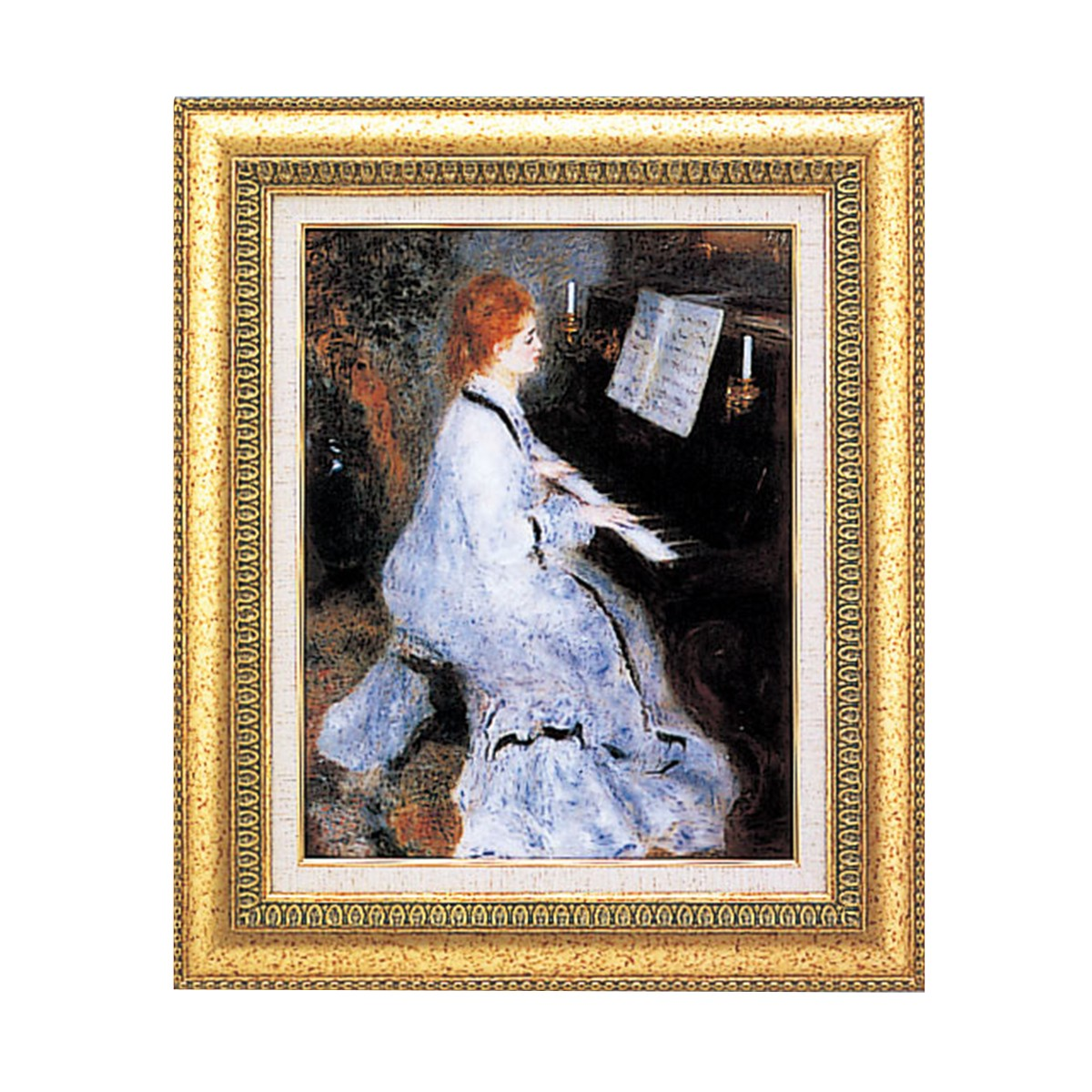 <お取り寄せ品> 複製絵画 ピアノを弾く白い服の婦人 ルノワール作 F6号 【 鑑賞 レプリカ 名画 西洋美術 印象派 肖像画 】