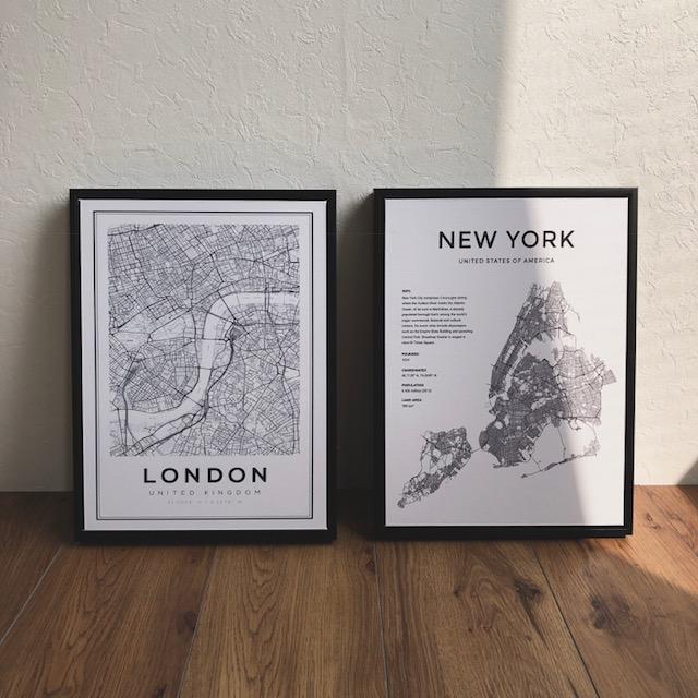 2セット木製ブラックフレーム付き タイプ1 LONDON NEWYORK design モノクロ ポスター アートプリント 29cmx39cmx2セット インテリア モノトーン 【art of black】