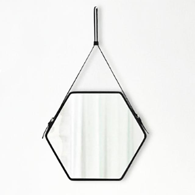 ヘキサゴン ミラー 鏡 40cm×45cm 壁掛け PVC 黒 ブラック 【art of black】