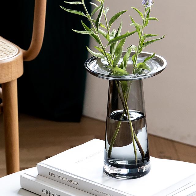 plat ガラス フラワーベース 激安セール プレゼント グレー art 花瓶 black of