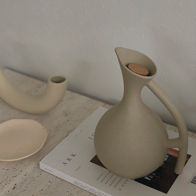 pitcher 最安値挑戦 フラワーベース 年中無休 コルク 陶器 black 花瓶 art of