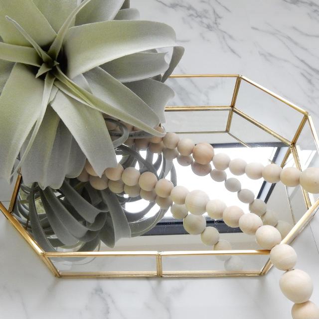 長方八角形ゴールドフレームグラスプレート底面鏡仕様ミラープレートアクセサリー収納【