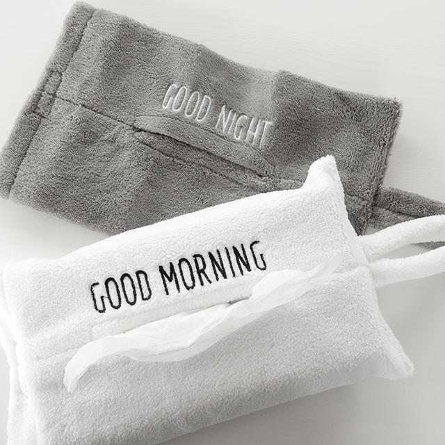 ネコポス ティッシュカバー GOOD MORNING/GOOD NIGHT タオル地 ループ付き シンプル モノトーン インテリア 北欧 ホワイト/グレー【art of black】