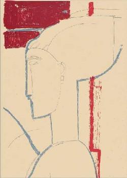 【シルクスクリーン】頭部と胸部の輪郭(600×900mm)-モディリアーニ-