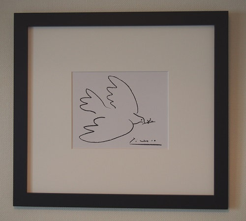 【ピカソ マット額装品】平和の鳩(510×560×15mm)