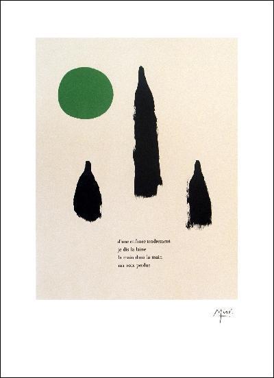 独り言(450×600mm) リトグラフ】イラストと詩 【ジョアン・ミロ -