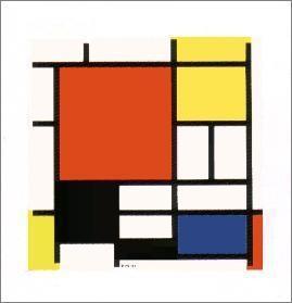 【アートポスター】赤・黄・青・黒のコンポジション(シルクスクリーン)400×400mm -モンドリアン-