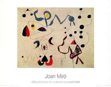 【アートポスター】夜の女と鳥(700×900mm) ミロ