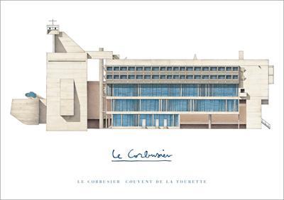 【ル・コルビュジエ】ラ・トゥーレット修道院(565×838mm)