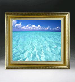 blue on blue  F8サイズ 【油絵 直筆仕上げ絵画】【額縁付】 油彩 風景画 オリジナルインテリア絵画 風水画 598×524mm 送料無料