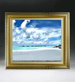 砂浜のミストラル  F8サイズ 【油絵 直筆仕上げ絵画】【額縁付】 油彩 風景画 オリジナルインテリア絵画 風水画 598×524mm 送料無料