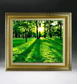 樹光  F8サイズ 【油絵 直筆仕上げ絵画】【額縁付】 油彩 風景画 オリジナルインテリア絵画 風水画 598×524mm 送料無料