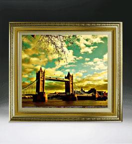 ロンドン橋を眺む  F8サイズ 【油絵 直筆仕上げ絵画】【額縁付】 油彩 風景画 オリジナルインテリア絵画 風水画 598×524mm 送料無料