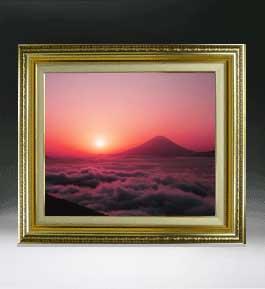 富士山 (1)  F8サイズ 【油絵 直筆仕上げ絵画】【額縁付】 油彩 風景画 オリジナルインテリア絵画 風水画 598×524mm 送料無料