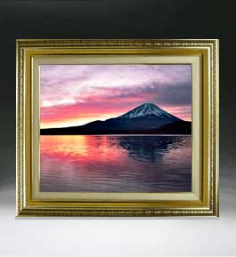 富士山 (2)  F8サイズ 【油絵 直筆仕上げ絵画】【額縁付】 油彩 風景画 オリジナルインテリア絵画 風水画 598×524mm 送料無料