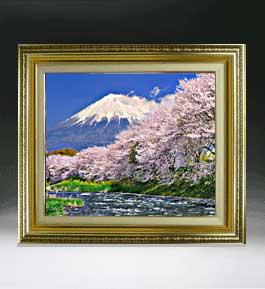 富士山-桜-  F8サイズ 【油絵 直筆仕上げ絵画】【額縁付】 油彩 風景画 オリジナルインテリア絵画 風水画 598×524mm 送料無料