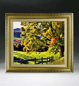 秋のはじまり  F8サイズ 【油絵 直筆仕上げ絵画】【額縁付】 油彩 風景画 オリジナルインテリア絵画 風水画 598×524mm 送料無料