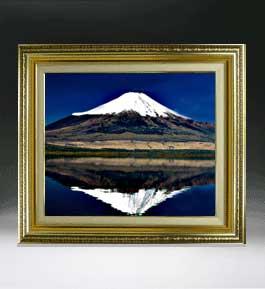 富士山(3)  F8サイズ 【油絵 直筆仕上げ絵画】【額縁付】 油彩 風景画 オリジナルインテリア絵画 風水画 598×524mm 送料無料