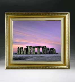 Stone henge F8サイズ 【油絵 直筆仕上げ絵画】【額縁付】 油彩 風景画 オリジナルインテリア絵画 風水画 598×524mm 送料無料