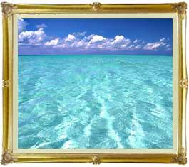 blue on blue  F20サイズ 【油絵 直筆仕上げ絵画】【キャンバス・額縁付】 油彩 風景画 オリジナルインテリア絵画 風水画 インテリアアート絵画 20号