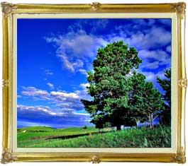 空と木と雲  F20サイズ 【油絵 直筆仕上げ絵画】【キャンバス・額縁付】 油彩 風景画 オリジナルインテリア絵画 風水画 インテリアアート絵画 20号
