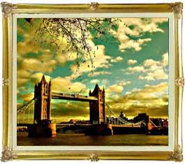 ロンドン橋を眺む F20サイズ 【油絵 直筆仕上げ絵画】【キャンバス・額縁付】 油彩 風景画 オリジナルインテリア絵画 風水画 インテリアアート絵画 20号
