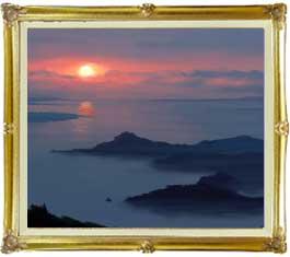 静謐の海 F20サイズ 【油絵 直筆仕上げ絵画】【額縁付】 油彩 風景画 オリジナルインテリア絵画 風水画 インテリアアート絵画 20号