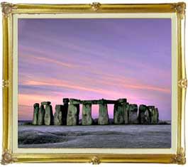 Stone henge F20サイズ 【油絵 直筆仕上げ絵画】【キャンバス・額縁付】 油彩 風景画 オリジナルインテリア絵画 風水画 インテリアアート絵画 20号