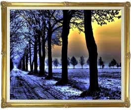 冬の足跡  F30サイズ 【油絵 直筆仕上げ絵画】【額縁付】 油彩 風景画 オリジナルインテリア絵画 風水画 インテリアアート絵画 30号