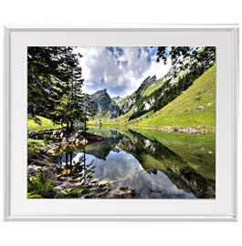 アルプスの眺めアートフレーム 色シルバー サイズL 641×531mm油絵 直筆仕上げ絵画布キャンバス・額表面保護板Aj5L4R3