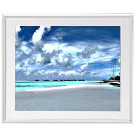 砂浜のミストラル  アートフレーム:色シルバー サイズL 641×531mm 【油絵 直筆仕上げ絵画】【布キャンバス・額表面保護板】 油彩 風景画 オリジナルインテリア絵画 風水画