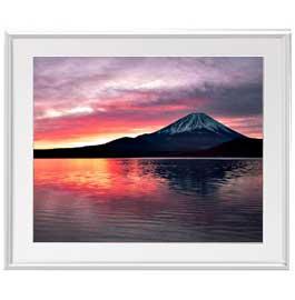 富士山 (2) アートフレーム:色シルバー サイズL 641×531mm 【油絵 直筆仕上げ絵画】【布キャンバス・額表面保護板】 油彩 風景画 オリジナルインテリア絵画 風水画