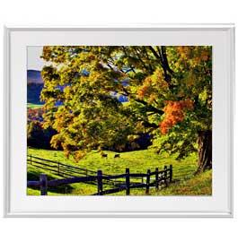 秋のはじまり アートフレーム:色シルバー サイズL 641×531mm 【油絵 直筆仕上げ絵画】【布キャンバス・額表面保護板】 油彩 風景画 オリジナルインテリア絵画 風水画