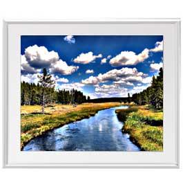 オルセットの河 アートフレーム:色シルバー サイズL 641×531mm 【油絵 直筆仕上げ絵画】【布キャンバス・額表面保護板】 油彩 風景画 オリジナルインテリア絵画 風水画